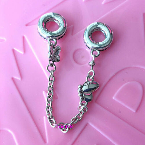 925 Sterling Silver Decorative Butterflies Safety Chain Fit Charm Bracelet