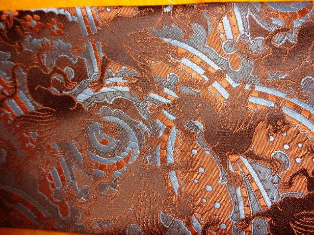 * 1970s VINTAGE PIERRE CARDIN DRESS SHIRT SUIT TIE ~BLUE GOLD BROWN GRIFFINS ~55