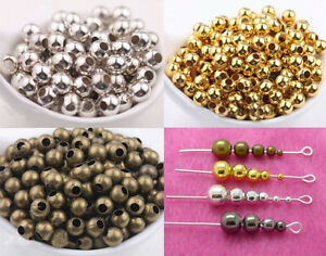 Wholesale Bronze Gold &Silver Plated Metal Ball Spacer Beads 2.5/3/ 4/ 5/ 6/8mm