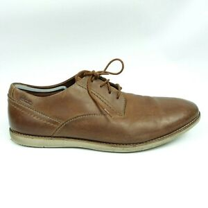 clarks mens 1825 brown leather casual lace up oxfords