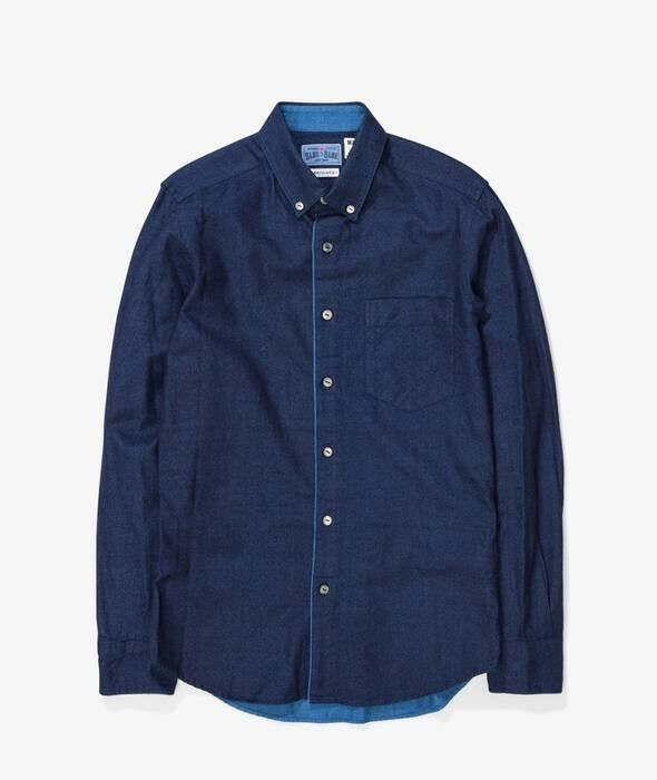 blu blu Japan Combination Flannel Shirt Indigo Dimensione 2 Medium Orslow Visvim