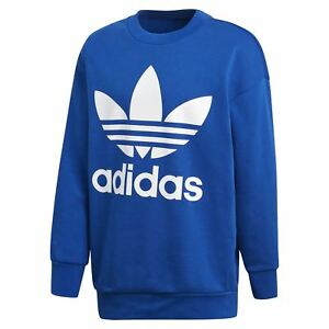 Adidas-Originaux-Surdimensionne-Trefle-Pull-Bleu-Col-Rond-Chaude-Confortable