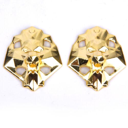 Pair Golden Lion Head Metal Shoe Lace Locks Chic Art Decor Shoe Accessories