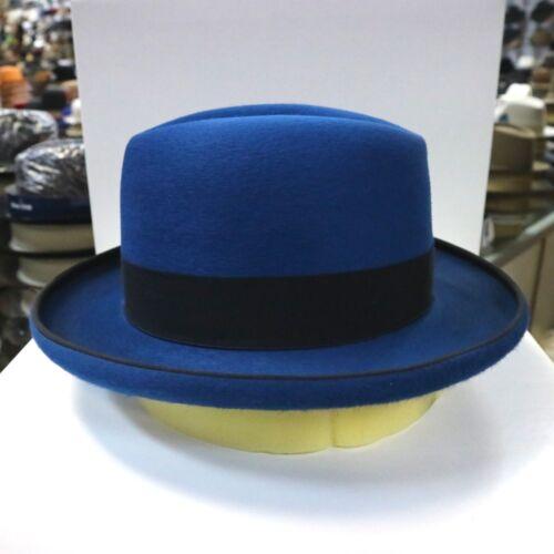 BORSALINO OCEAN BLUE LONG HAIR FUR FELT HOMBURG DRESS HAT *READ BELOW 4 SIZE