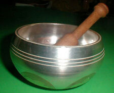 Tibetan Singing Bowl 5 in diameter Silver Carved Tibet Script side Bonuses Nepal