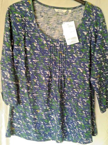 Adini 100/% cotton printed slub jersey tunic 3//4 slvs with detail pintuck front
