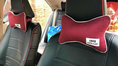 2pcs Cotton Linen Car Headrest Neck Pillow Soft Comfortable Pillow Cushion