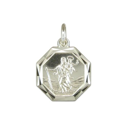 Silver Diamond Cut Octagonal St Christopher Necklace