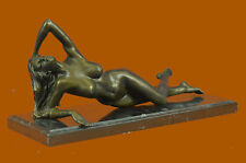 Nude Bronze Sculpture Marble Base Statue Figurine Noveau Girl Laying On Rock B