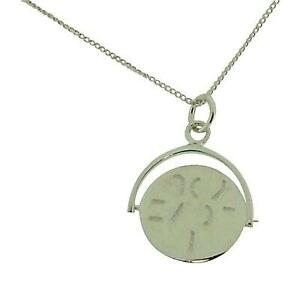 """TOC Sterling Silver 'I Love You' Spinner Pendant Necklace 18"""""""