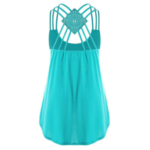 Womens Casual Bandages Sleeveless Vest Tank Tops Lady Solid Strappy Shirt Blouse
