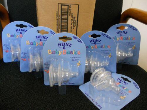 6 packs FULL CASE : Heinz Baby Basics Fast Flow Teats FIT AVENT BOTTLES TOO