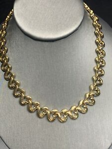 """Vintage Signed Butler Quality Gold Heart Link 16"""" Necklace Gold Over Box Clasp"""