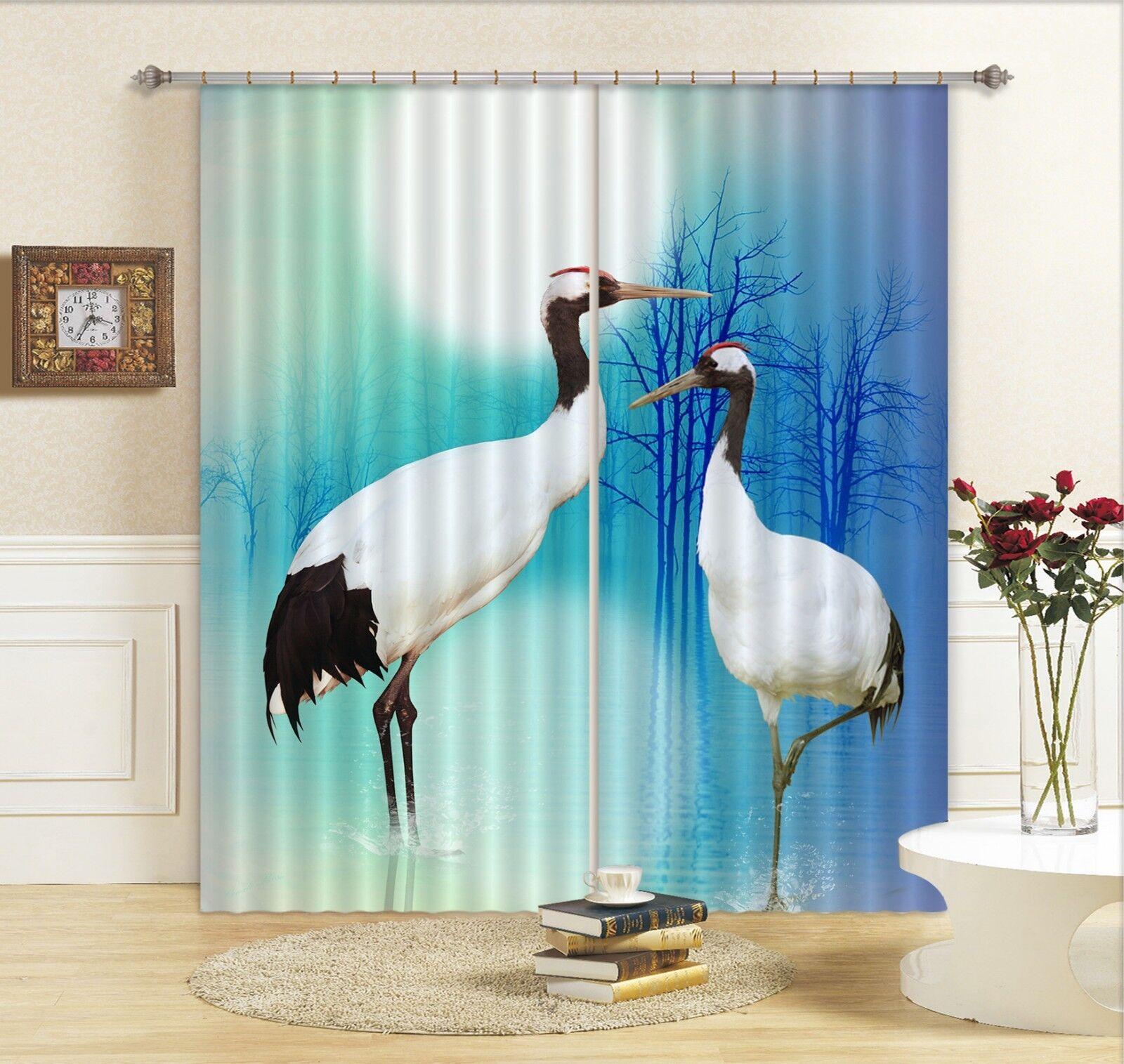 3D Moon Heron 678 Blockout Photo Curtain Print Curtains Drapes Fabric Window AU