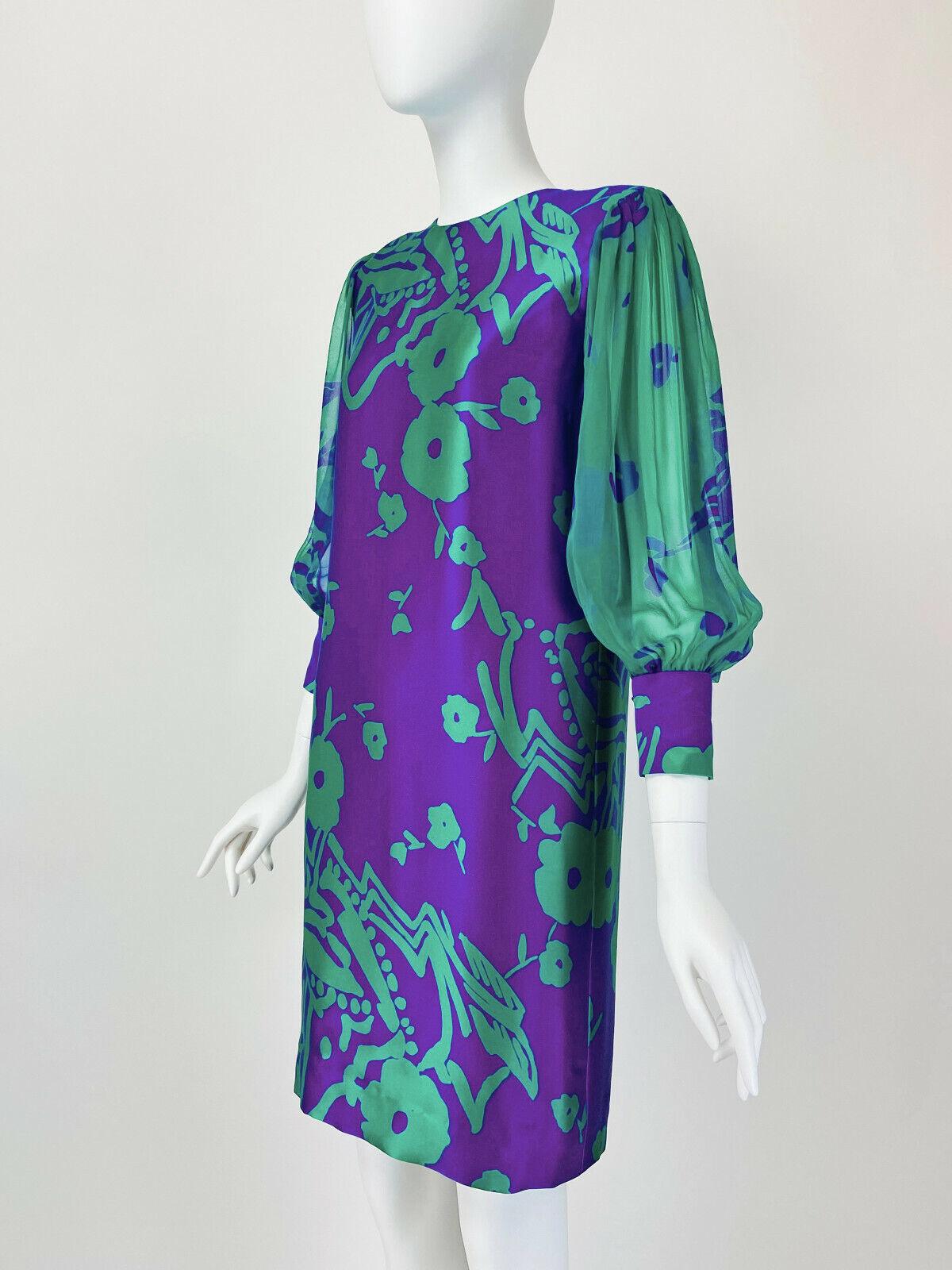 Designer Vintage 80s Silk Dress PAULINE TRIGERE S… - image 5