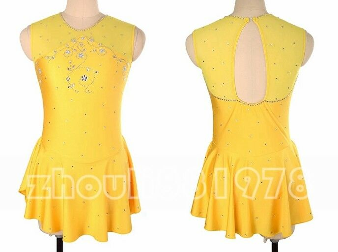 New Girls Women Ice Figure Skating Dress For Competition Yellow Sleeveless