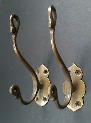 """Set of 4 Small double Coat Hat Hooks Antique style Solid Brass 2 1//2/"""" #C1"""