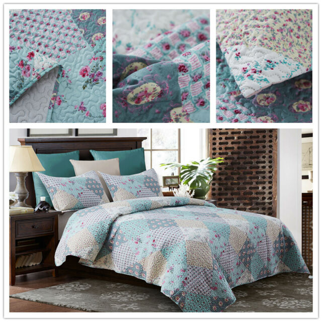 3 Piece King Size Quilt Set Blanket Bedspread w// 2 Matching Pillow shams
