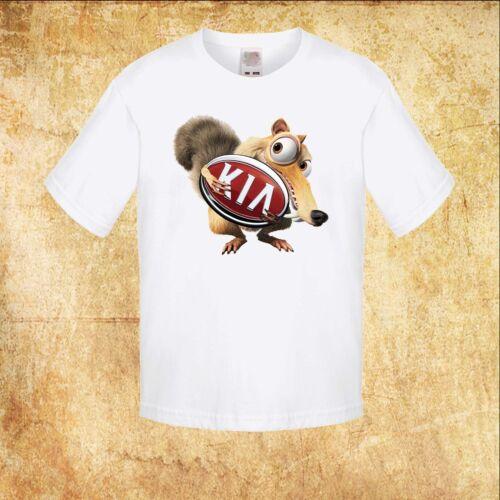 KINDER//KID//TEENAGE White T-shirt KIA CAR Ice Age Scrat EICHHÖRNCHEN//SQUIRREL TEE