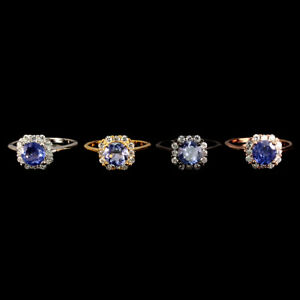 Unheated-Round-Blue-Tanzanite-7mm-Natural-Cz-925-Sterling-Silver-Ring