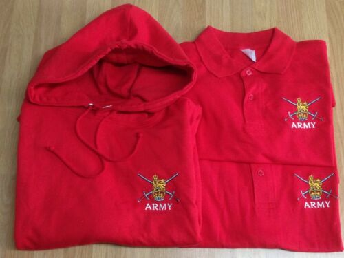 British Army - Adult // Kid Clearance Red Embroidered Polo Shirt // Hoodie