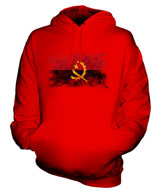ANGOLA DISTRESSED FLAG UNISEX HOODIE TOP ANGOLAN  FOOTBALL JERSEY GIFT