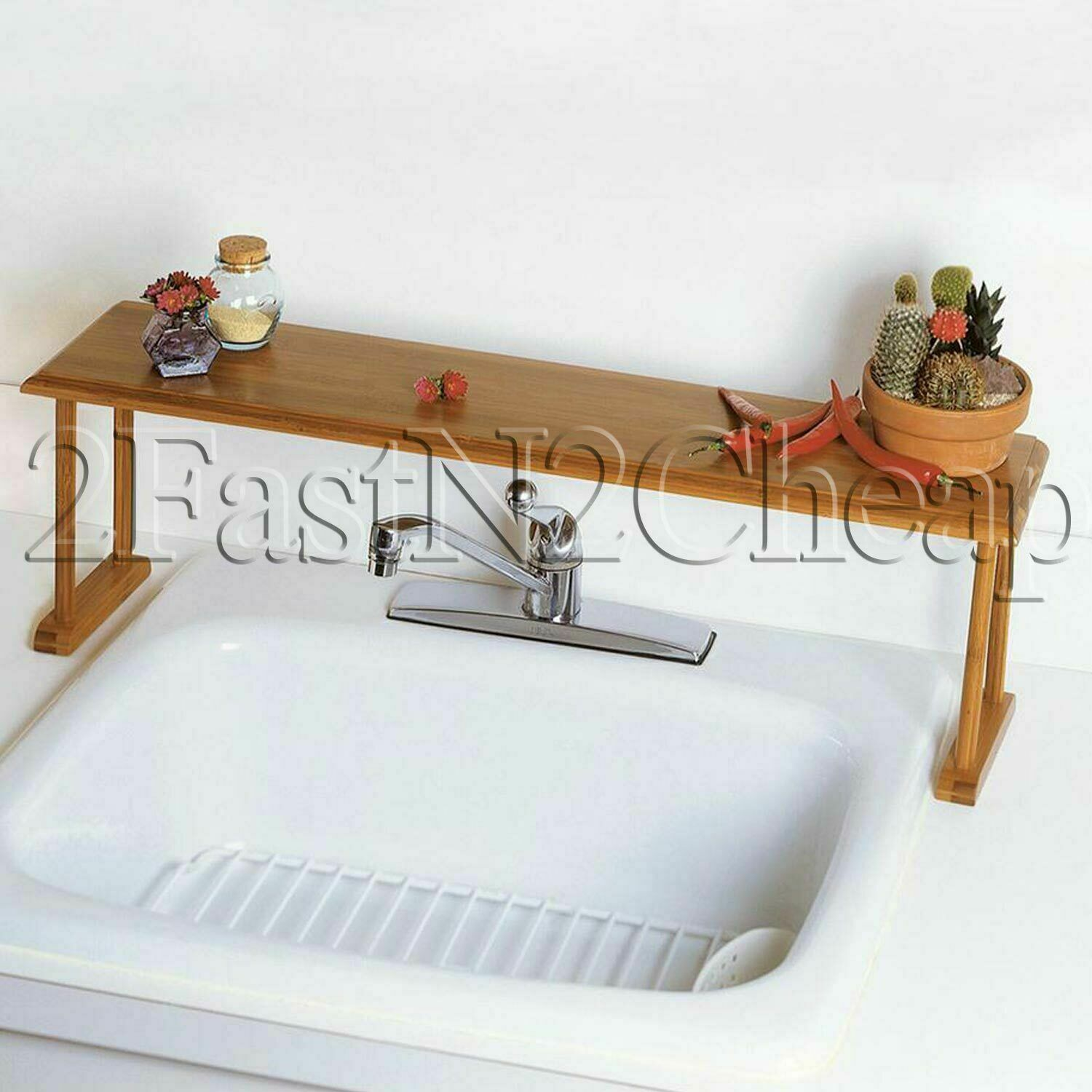 Home Indoor Kitchen Storage Organizer Over-The-Sink Bamboo S