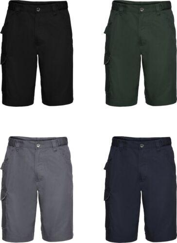 Russell Mens Twill Poycotton Outdoor Workwear Stylish Pocket Cargo Shorts
