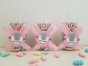 Baby Shower 12 Elephant faveur bouteilles Prix Jeu Fille Rose Décoration Recuerdos