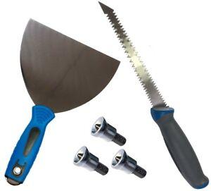 Trockenbau-Set-Saege-Messer-Spachtel-Halbmond-und-3-Bits-mit-Tiefenanschlag-Gips
