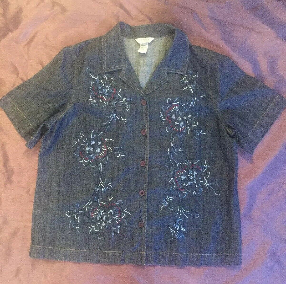City Blues by Koret Womens Denim Blue Top Embroidered 100% Cotton Size Large