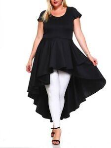 Details about Plus Size Black Layered Hi Low Cascade Ruffle Peplum Dress  Tunic Top Blouse 2X