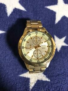 Seiko-Chronograph-Date-SS-Gold-Quartz-Mens-Watch-Authentic-Working