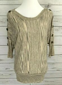 Fashion-Avenue-Knit-Top-Womens-Medium-M-Beige-Striped-3-4-Sleeve-Knitted-Stretch
