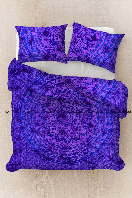 Indian purple ombre bohemian mandala duvet cover quilt cover cotton bedding set