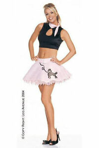 Ladies-2-Piece-Leg-Avenue-Grease-50-039-s-Rock-N-Roll-Girl-Fancy-Dress-Skirt-12-14