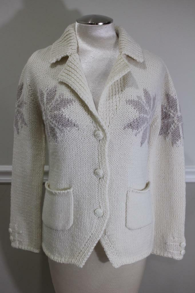 LUIS TRENKER cream chunky knit button up sweater size M ( SW 400)