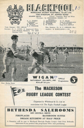Blackpool Borough v Wigan 15 Sep 1962 Blackpool RUGBY LEAGUE PROGRAMME