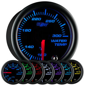 52mm GLOWSHIFT BLACK 7 COLOR LED WATER TEMPERATURE TEMP GAUGE w SENDER