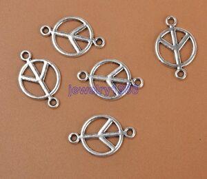 20pcs-Tibetan-Silver-Peace-Sign-Symbol-Connectors-Accessories-17x11mm-F3305