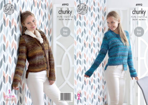 King Cole Ladies Chunky Knitting Pattern Womens Easy Knit Jumper /& Cardigan 4992