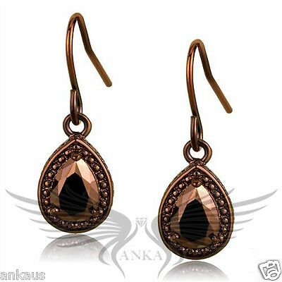 Brilliant AAA Grade Pear Cut CZ Cubic Zircon Coffee Ion Plated Earrings 3W1114