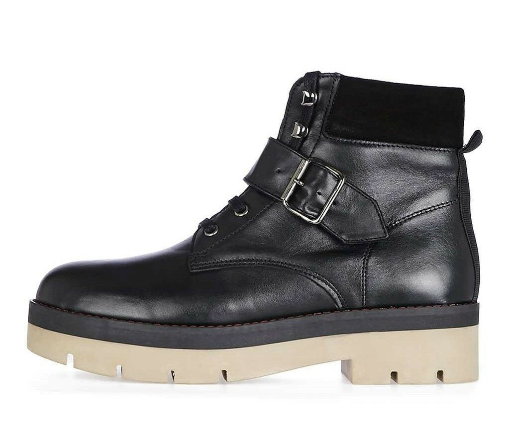 Topshop Autumn Black Leather Hiker Boots with Buckle Strap