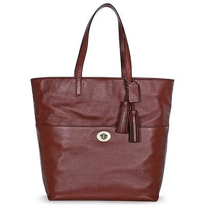 Coach Legacy Leather Turnlock Tote Shoulder Bag - Cognac Brown