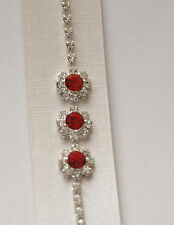 Clear Crystal Tennis Bracelet in Silver-tone / Red or Pink Crystal Center / NWT