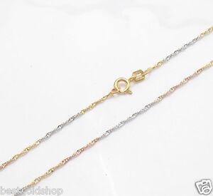 Technibond Sparkly Singapore Chain Necklace 14K TriColor Gold Clad