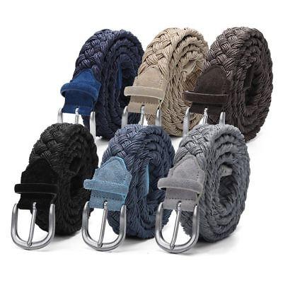 Wax Rope Knitted Belt Men Suede Braided Strap Silver Buckle Handwork Beige Black