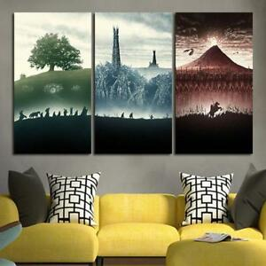 Image is loading 3-Panel-Lord-Of-the-Rings-Trilogy-Wall- & 3 Panel Lord Of the Rings Trilogy Wall Art Canvas unframed   eBay
