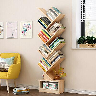 9 Shelf Tree Shape Bookshelf Wood Bookcase Display Stand Rack Tree