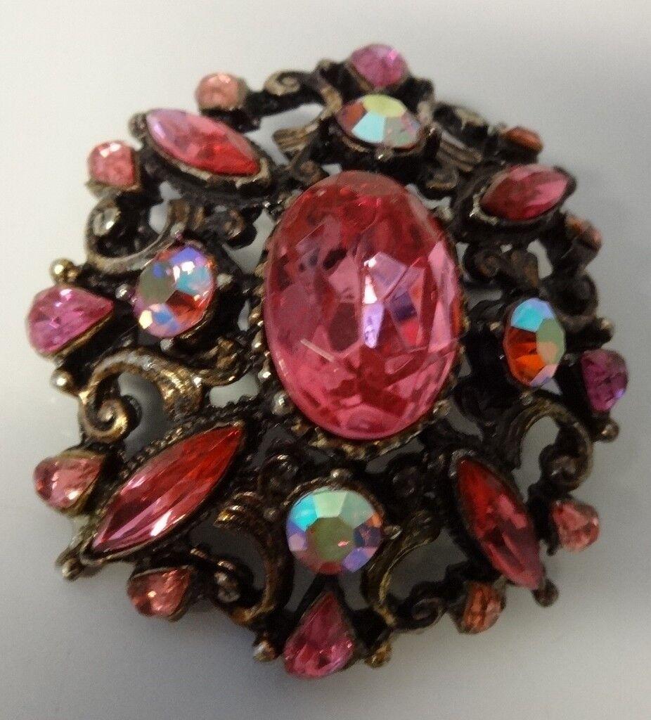 Vintage Pink Rhinestone Pin Brooch
